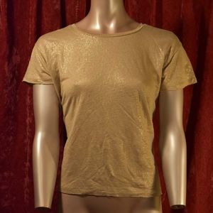 J Crew Sparkly Gold and Cream Super Soft Linen Top